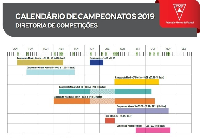DCO divulga calendário 2019
